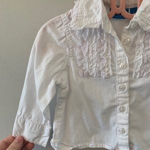 5/$20 White, button up, with lace detail